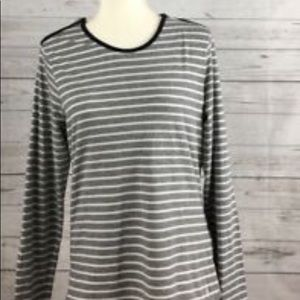 Nautica Gray White Striped Knit Zipper Top